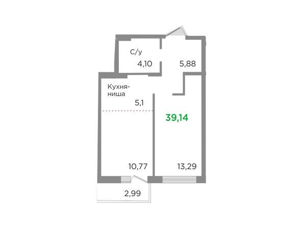 Планировки Жилой комплекс ЯСНЫЙ БЕРЕГ, дом 10, б/с 1-3  - Планировка двухкомнатной квартиры 39,14 кв.м