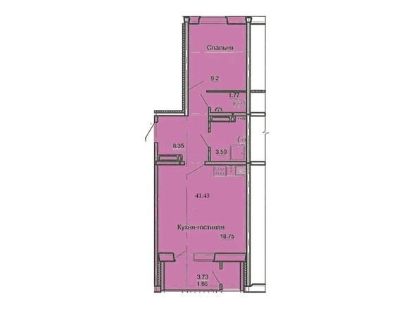 Планировка 2-комн 41,43 м²