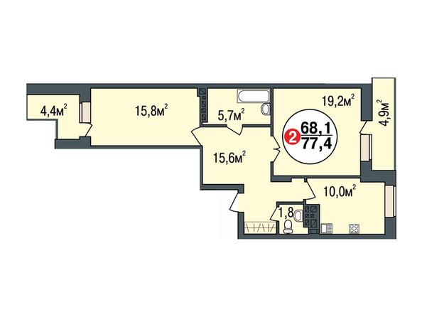 Планировки Жилой комплекс ПОКРОВСКИЙ, б/с 1, 2 - Планировка двухкомнатной квартиры 77,4 кв.м