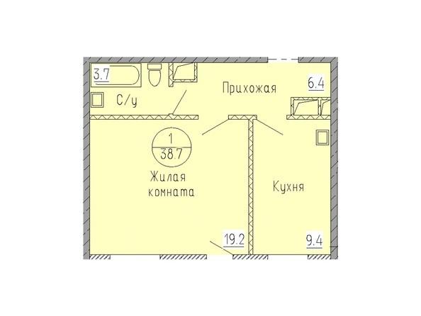 Планировка 1-комн 38,7 м²