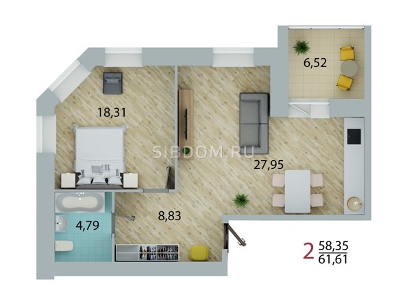 Планировка 2-комн 61,61 м²