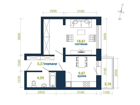 Планировка 1-комн 41,35 м²