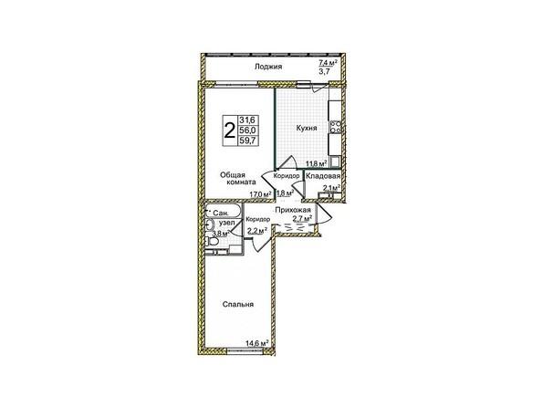 Планировки Жилой комплекс КЕМЕРОВО-СИТИ, дом 4г - Планировка двухкомнатной квартиры 59,7 кв.м