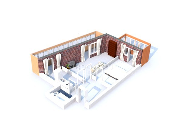 Планировки Жилой комплекс ГЛОБУС, дом 8 - 3d-макет двухкомнатной квартиры 61,90 кв.м