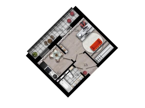Планировка однокомнатной квартиры 37,6 кв.м