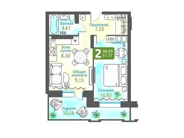 Планировка 2-комн 51,57 м²