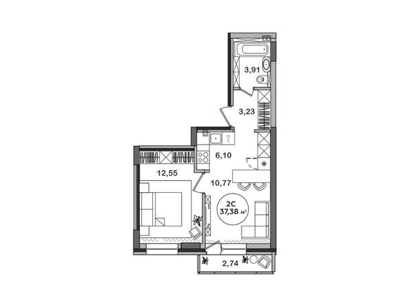 Планировка 2-комн 37,38 м²