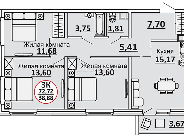 Планировки Жилой комплекс ВЕСЕННИЙ, Заречная 39, дом 2/4 - 3-комнатная 74,56 кв.м