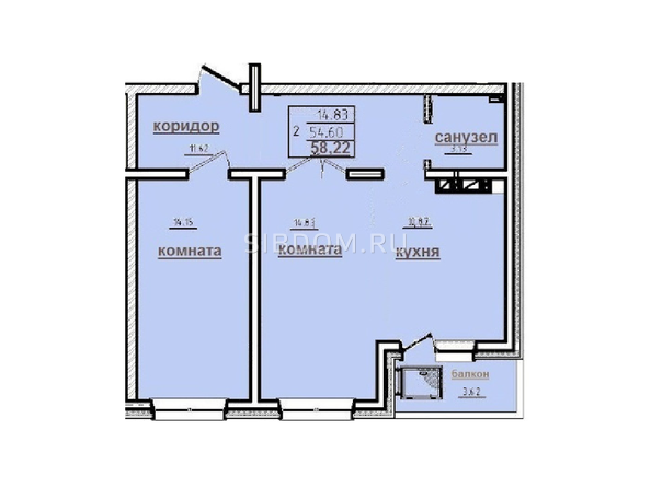 2-комнатная 58,22 кв.м