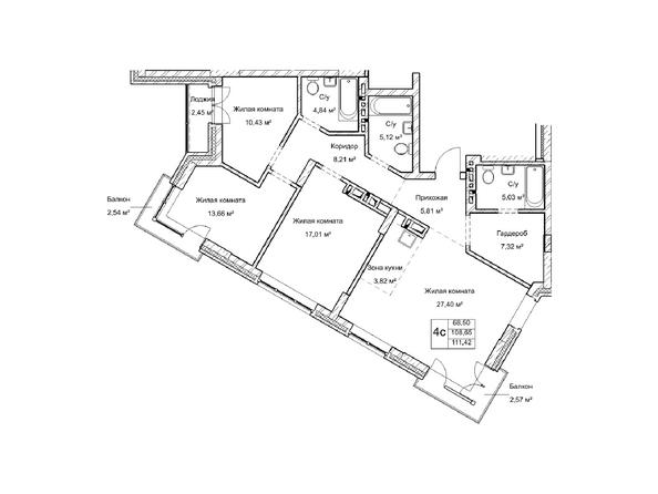 Планировки Жилой комплекс ГУДИМОВ - Планировка четырехкомнатной квартиры 108,6 кв.м
