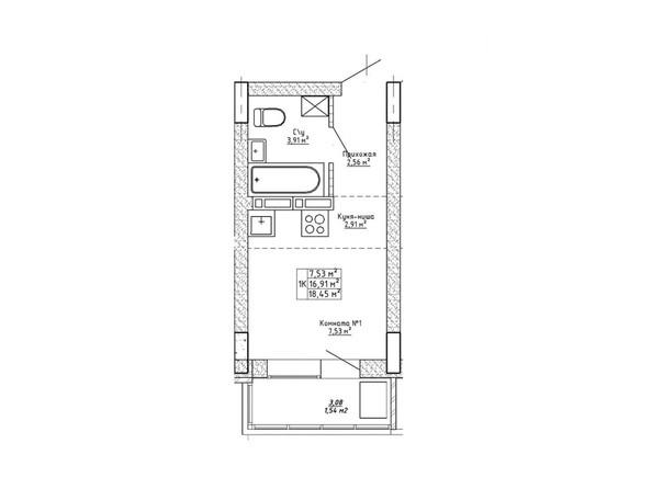Планировки Ленина, 123 - Планировка однокомнатной квартиры 18,45 кв.м