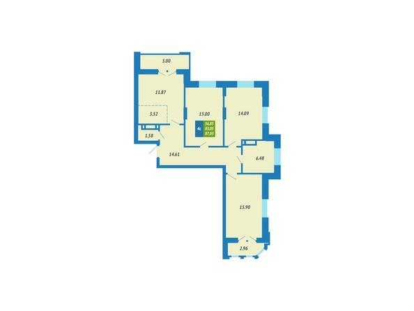 Планировка 4-комнатной квартиры 87,03 кв.м