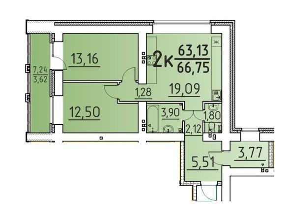Планировка 2-комн 66,75 м²
