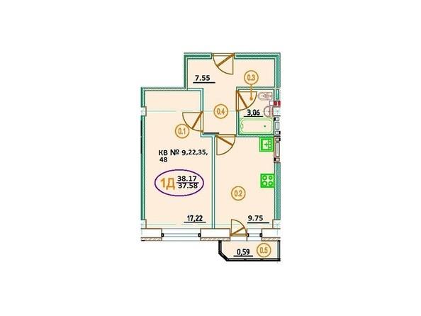 Планировка 1-комн 38,17 м²