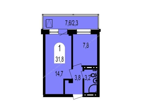 Планировки Жилой комплекс ТИХИЕ ЗОРИ, дом 1 (Красстрой) - Планировка однокомнатной квартиры 31,8 кв.м