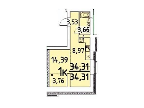 1-комнатная 34.31 кв.м