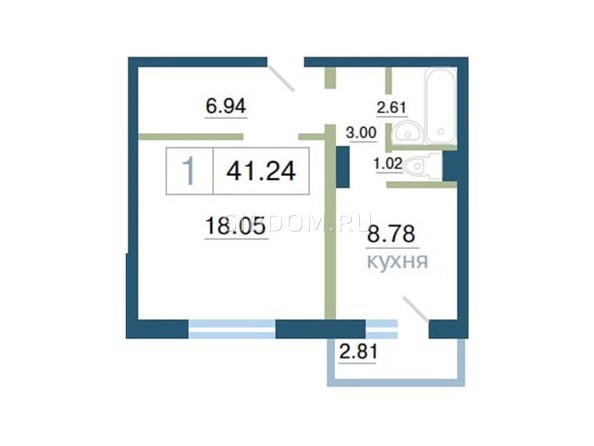 Планировка 1-комн 41,24 м²