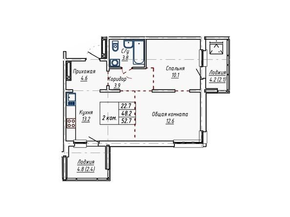 Планировки Жилой комплекс АКВАРИУМ - Планировка двухкомнатной квартиры 52,7 кв.м