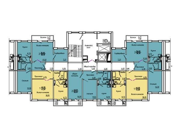 Планировки Жилой комплекс Нанжуль-Солнечный мкр, дом 5 - Подъезд 4. Планировка 15-16 этажей