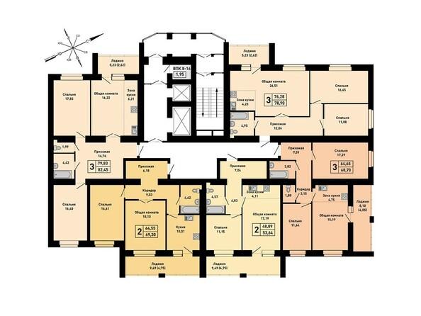 Блок-секция 1. Планировка 8-16 этажей