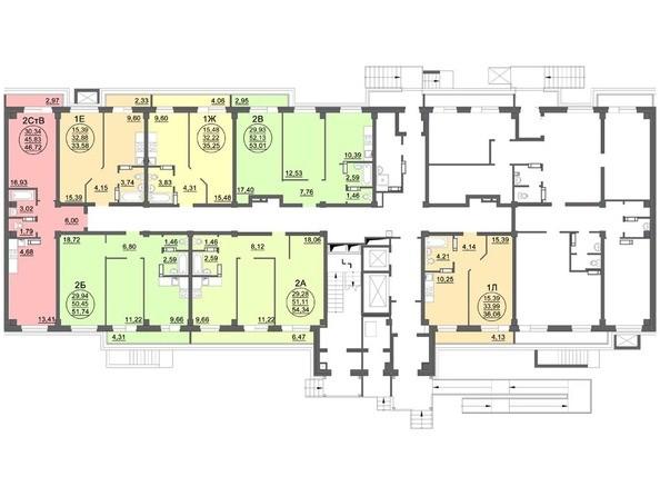 Планировки Жилой комплекс МАТРЕШКИН ДВОР 95/4, дом 1, 1,2 б/с - Блок-секция 2. Планировка 1 этажа