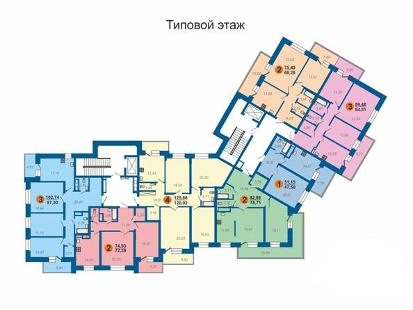 Планировки Жилой комплекс БЕЗОБЛАЧНЫЙ, дом 2 - Типовой этаж