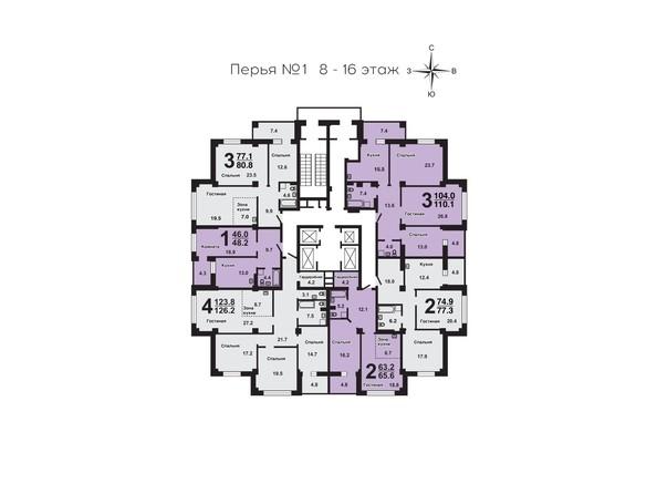 Планировки Жилой комплекс ПЕРЬЯ ж/к, дом 1 - План 8-16 этажей
