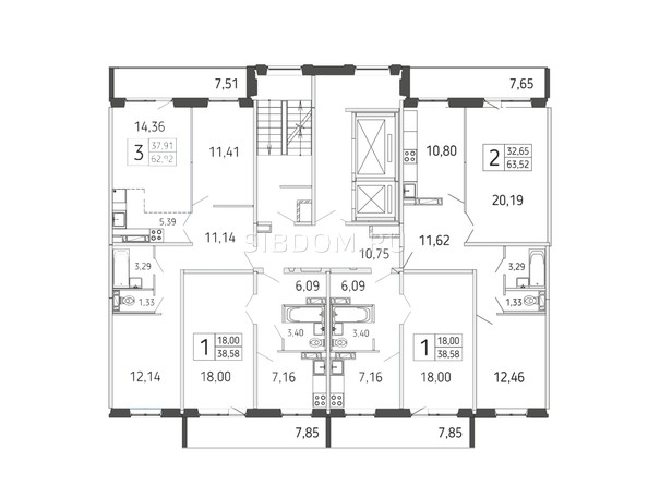 Блок-секция 2. Планировка типового этажа
