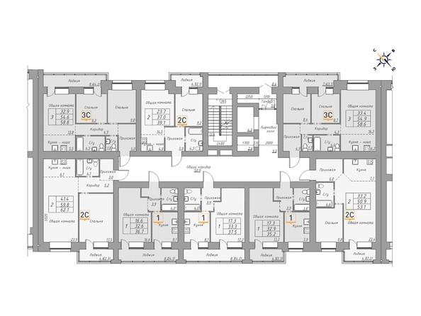 Планировки Жилой комплекс ДВЕ ЭПОХИ, корпус 1 - Планировка 4-13 этажей, 2 б/с