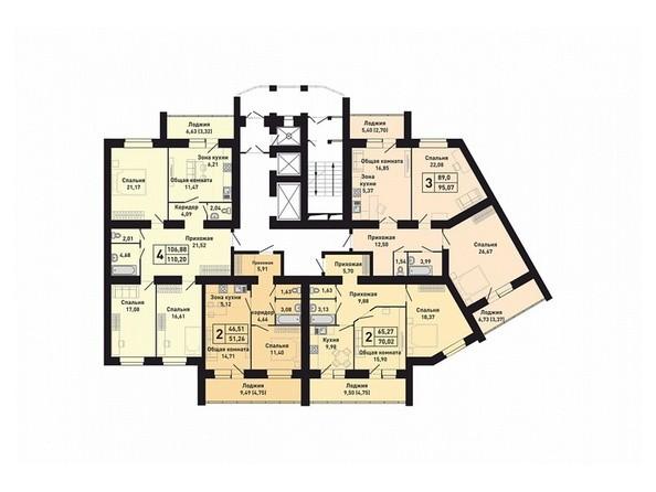 Планировки Жилой комплекс КРАСНООБСКИЙ, дом 230 - Подъезд 3. Планировка 7-13 этажей