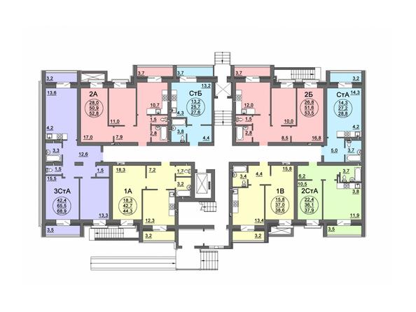 Планировки Жилой комплекс СВОБОДА, дом 8 - Подъезд 1. Планировка 1 этажа