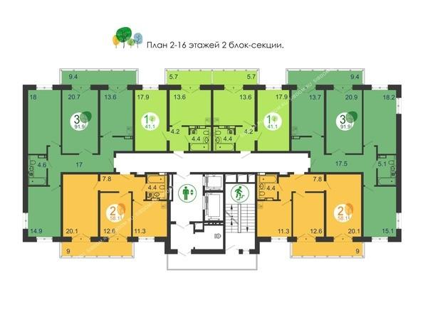 Планировка 2-16 этажей, 2 б/с