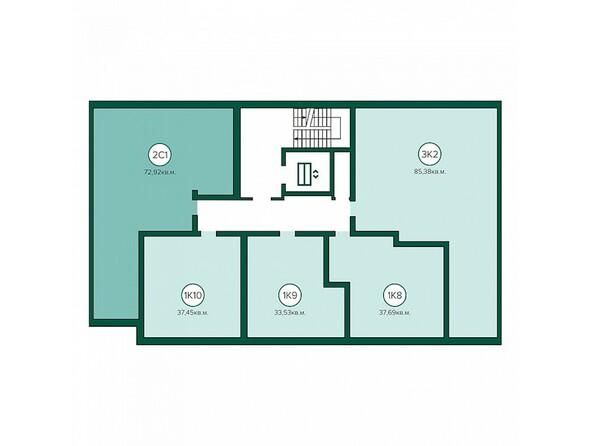 Блок-секция 4. Планировка 3-6 этажей