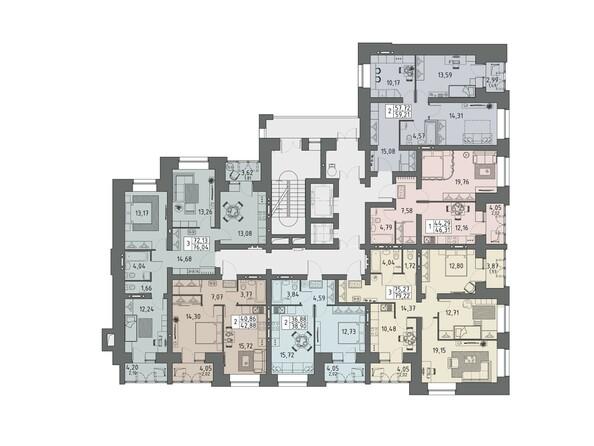 Планировки ВАВИЛОВСКИЙ ДВОРИК - Подъезд 3. Планировка 6-14 этажей