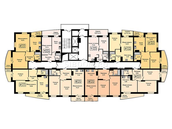 Планировки Жилой комплекс РУБИН - Планировка 16-20 этажей