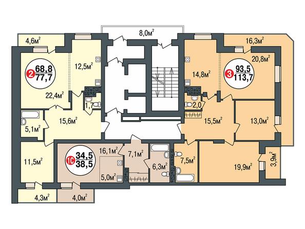 Планировки Жилой комплекс ПОКРОВСКИЙ, б/с 3, 4, 5 - Блок-секция 3. Планировка типового этажа