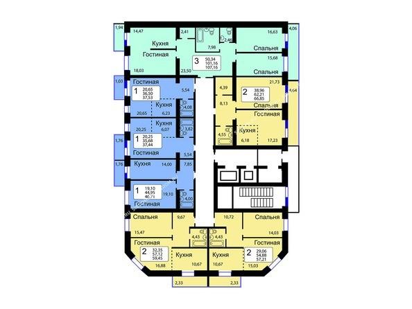 Планировки Жилой комплекс РЯБИНОВЫЙ САД, 3 оч, 2 этап - 10-16 этажи 12 б/с