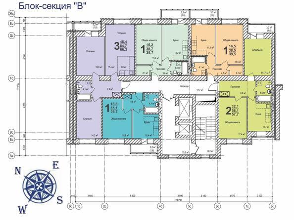 Планировки Жилой комплекс ВЕРХНИЙ БУЛЬВАР, 7 дом, б/с а,б,в - Планировка типового этажа б/с «В»
