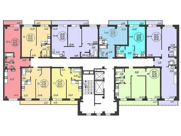 Планировки Жилой комплекс ЛЕТО, дом 3, б/с 3,4 - Блок-секция 4. Планировка 2-16 этажей