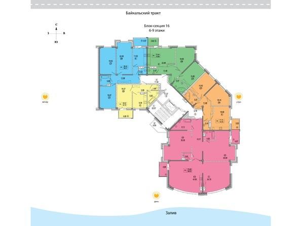 Планировки Жилой комплекс СИМВОЛ, 3 очередь, б/с 16 - 16 блок-секция. Планировка 6-9 этажей