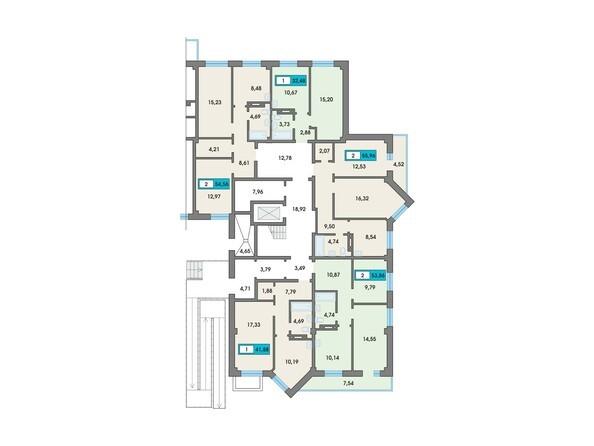 Планировки Жилой комплекс Сосновоборск, 7 мкр, 2 этап - Подъезд 7. Планировка 1 этажа