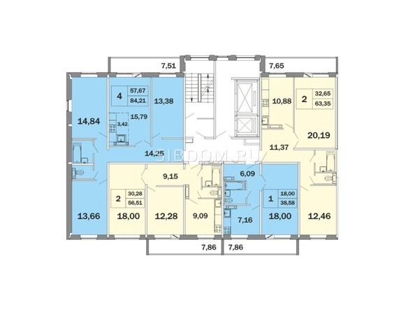 Планировки Жилой комплекс РАДОНЕЖСКИЙ, КПД-11 - Блок-секция 1, планировка типового этажа