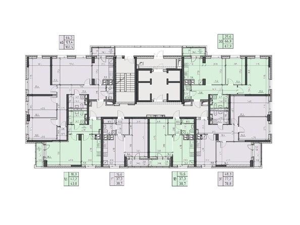 Планировки Жилой комплекс НА ВЫСОТЕ, 2 этап - Планировка 12, 14, 16 этажей