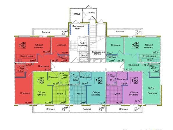 Планировки Жилой комплекс ВОСТОЧНЫЙ, 85/1б - Блок-секция 2. Этаж 1