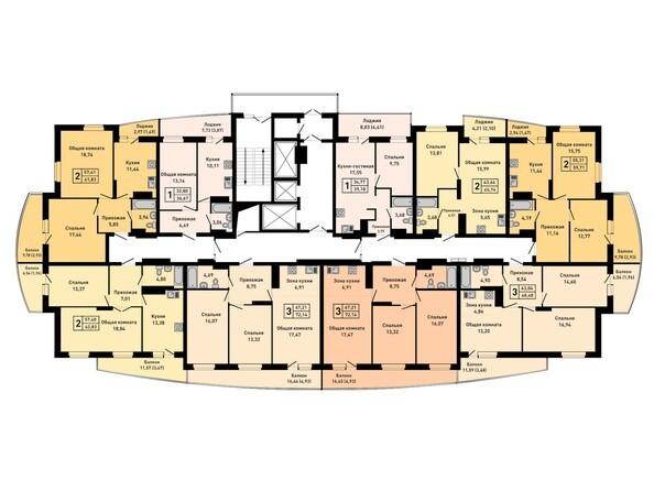 Планировки Жилой комплекс РУБИН - Планировка 25 этажа