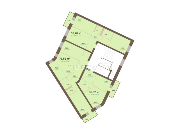 Планировки Жилой комплекс Академгородок, дом 1, корп 3 - Корпус 3. Подъезд 12. Планировка типового этажа