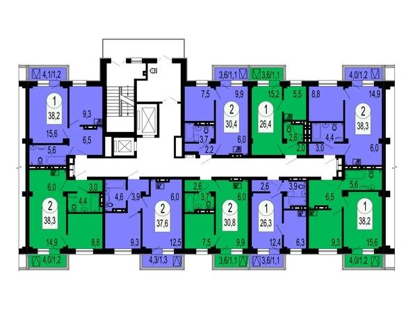 Планировки Жилой комплекс СЕРЕБРЯНЫЙ, квр В, дом 4 - Блок-секция №2. Планировка типового этажа