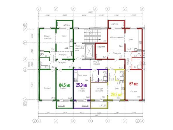 Планировки ВРЕМЕНА ГОДА, дом 112 - Планировка типового этажа, 6 б/с