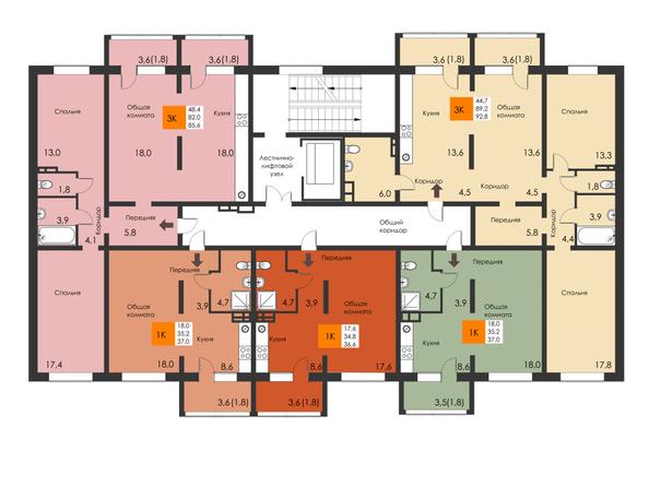 Планировки Жилой комплекс РЕВОЛЮЦИЯ - Подъезд 6. Планировка типового этажа