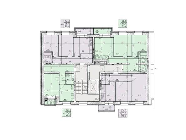 Планировки Жилой комплекс НА ВЫСОТЕ, 1 этап - Подъезд №1. Планировка типового этажа
